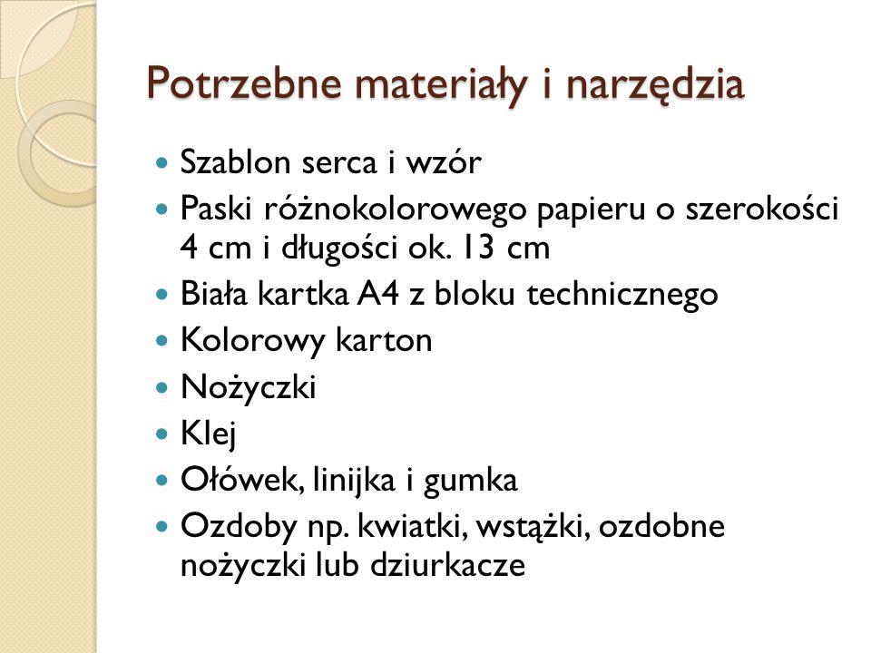 Potrzebne materiały i narzędzia