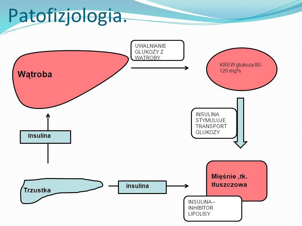 Patofizjologia. Wątroba Mięśnie ,tk. tłuszczowa Trzustka insulina