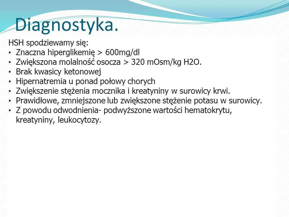 Diagnostyka. HSH spodziewamy się: Znaczna hiperglikemię > 600mg/dl