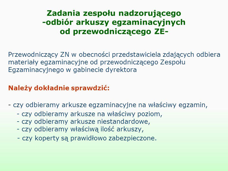 Zadania zespołu nadzorującego -odbiór arkuszy egzaminacyjnych od przewodniczącego ZE-