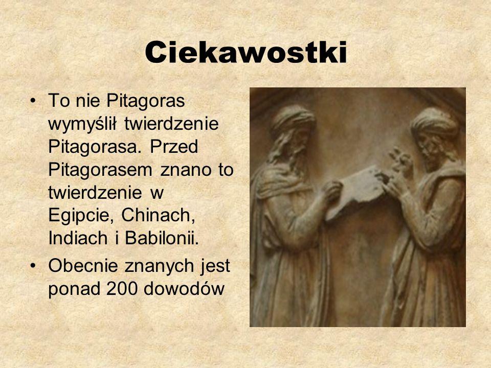 Ciekawostki To nie Pitagoras wymyślił twierdzenie Pitagorasa. Przed Pitagorasem znano to twierdzenie w Egipcie, Chinach, Indiach i Babilonii.