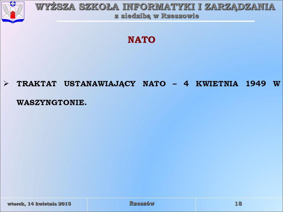 NATO TRAKTAT USTANAWIAJĄCY NATO – 4 KWIETNIA 1949 W WASZYNGTONIE.