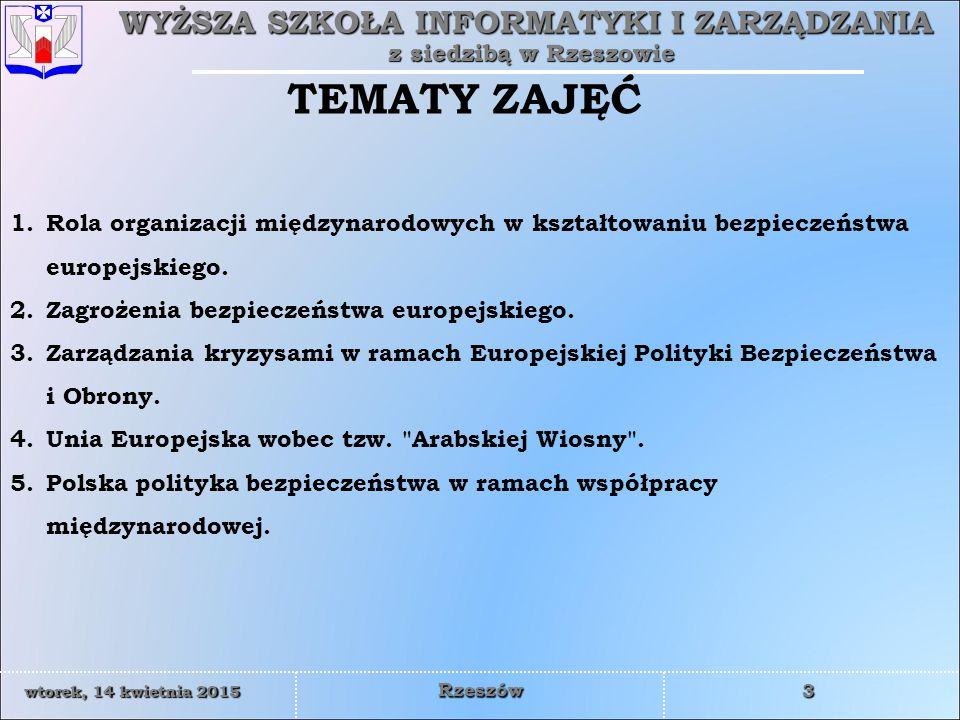 TEMATY ZAJĘĆ Rola organizacji międzynarodowych w kształtowaniu bezpieczeństwa europejskiego. Zagrożenia bezpieczeństwa europejskiego.