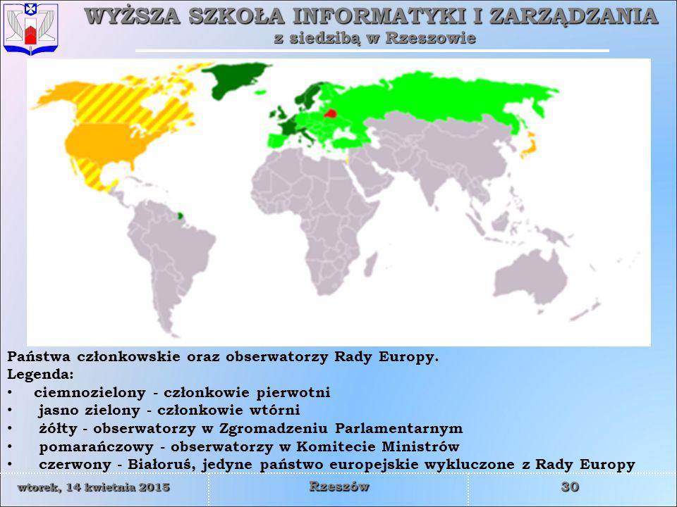 Państwa członkowskie oraz obserwatorzy Rady Europy. Legenda: