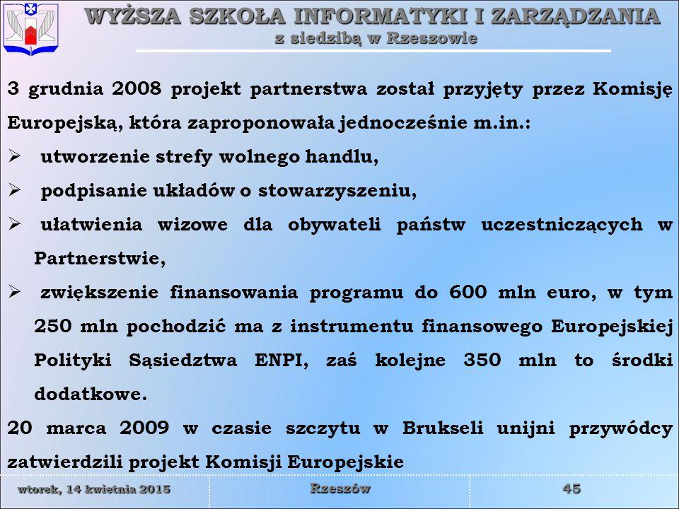 3 grudnia 2008 projekt partnerstwa został przyjęty przez Komisję Europejską, która zaproponowała jednocześnie m.in.: