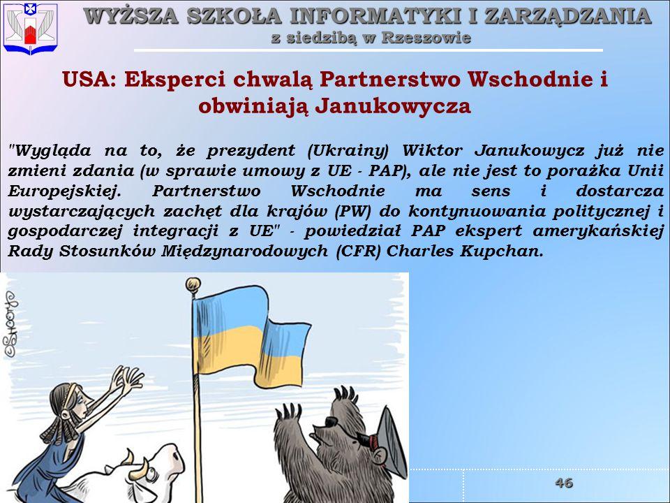 USA: Eksperci chwalą Partnerstwo Wschodnie i obwiniają Janukowycza