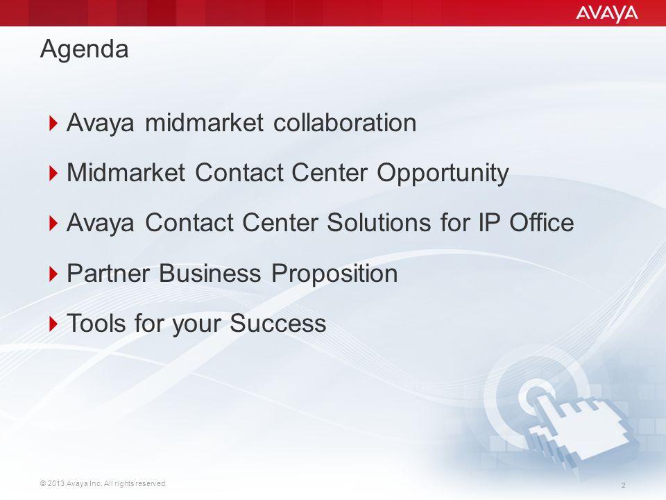 Agenda Avaya midmarket collaboration. Midmarket Contact Center Opportunity. Avaya Contact Center Solutions for IP Office.