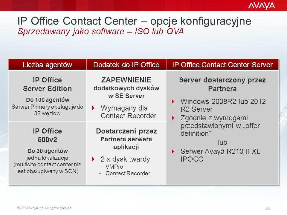 IP Office Contact Center – opcje konfiguracyjne Sprzedawany jako software – ISO lub OVA