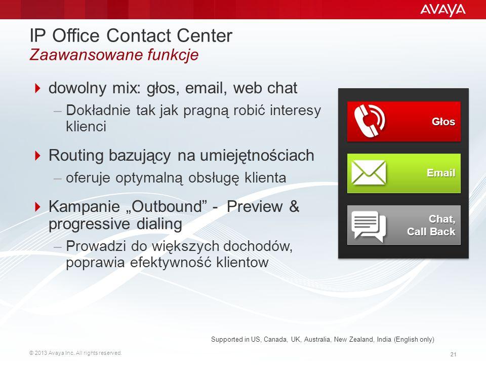 IP Office Contact Center Zaawansowane funkcje