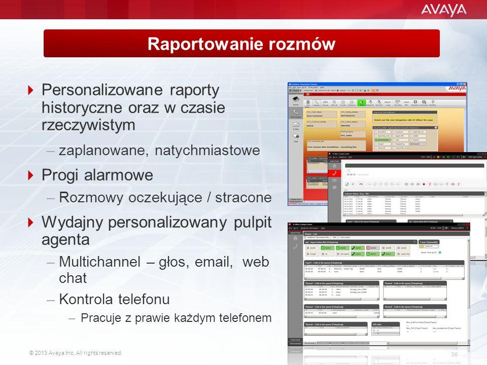 Raportowanie rozmów Personalizowane raporty historyczne oraz w czasie rzeczywistym. zaplanowane, natychmiastowe.
