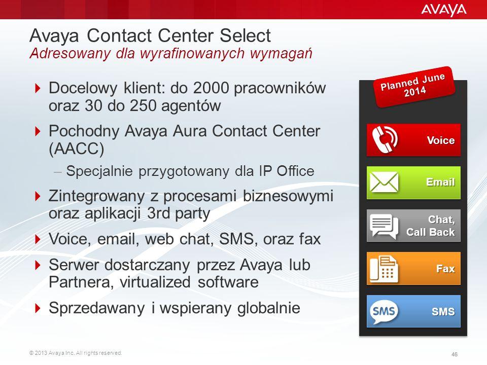 Avaya Contact Center Select Adresowany dla wyrafinowanych wymagań
