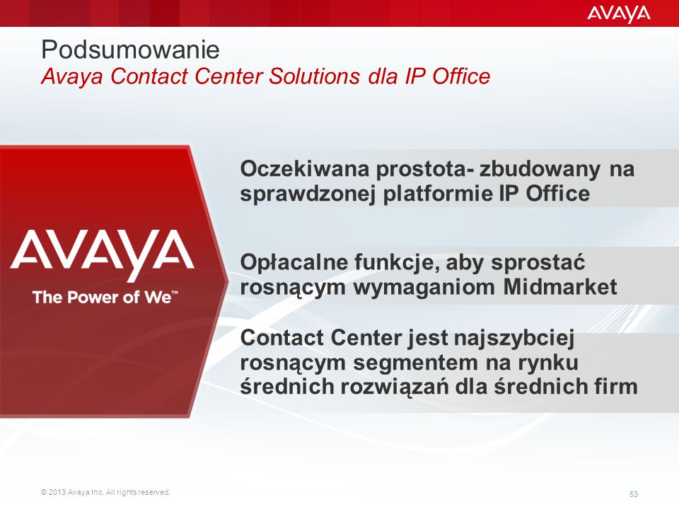 Podsumowanie Avaya Contact Center Solutions dla IP Office