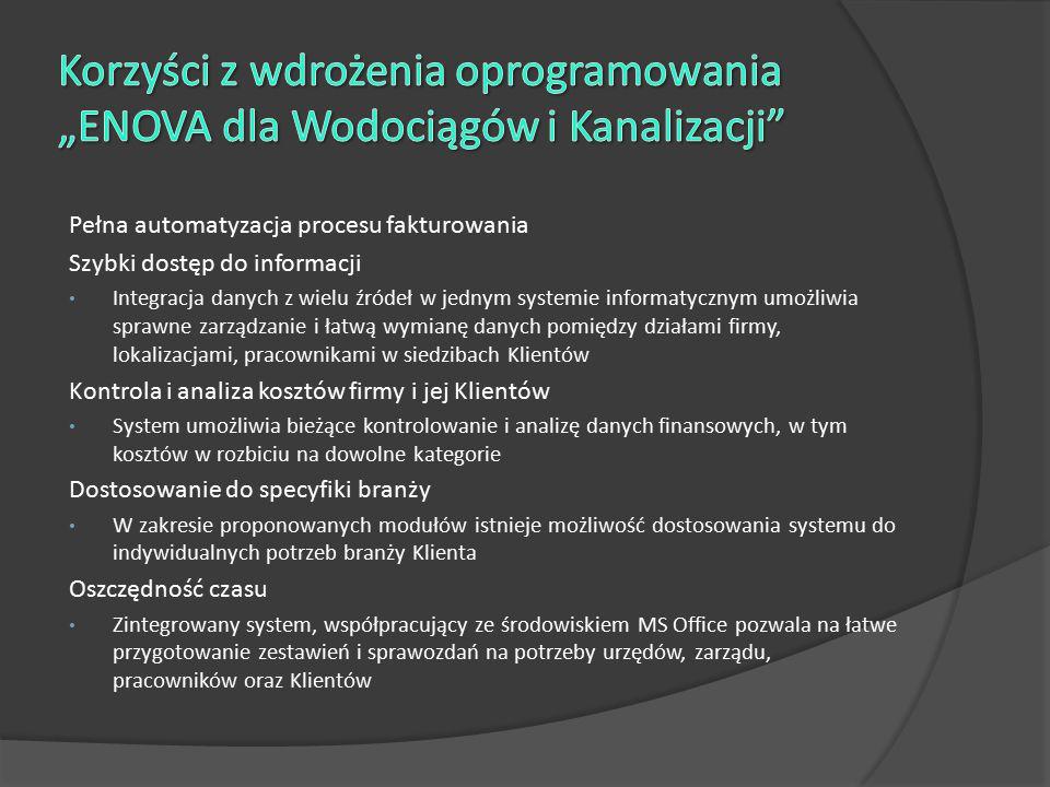 """Korzyści z wdrożenia oprogramowania """"ENOVA dla Wodociągów i Kanalizacji"""