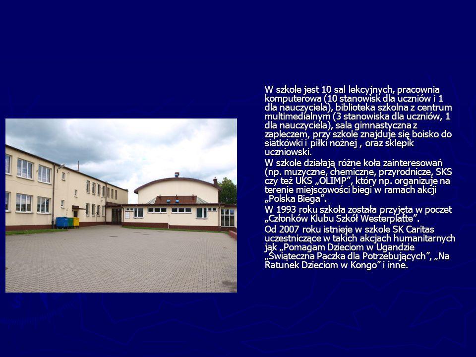 W szkole jest 10 sal lekcyjnych, pracownia komputerowa (10 stanowisk dla uczniów i 1 dla nauczyciela), biblioteka szkolna z centrum multimedialnym (3 stanowiska dla uczniów, 1 dla nauczyciela), sala gimnastyczna z zapleczem, przy szkole znajduje się boisko do siatkówki i piłki nożnej , oraz sklepik uczniowski.
