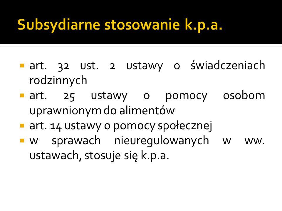 Subsydiarne stosowanie k.p.a.
