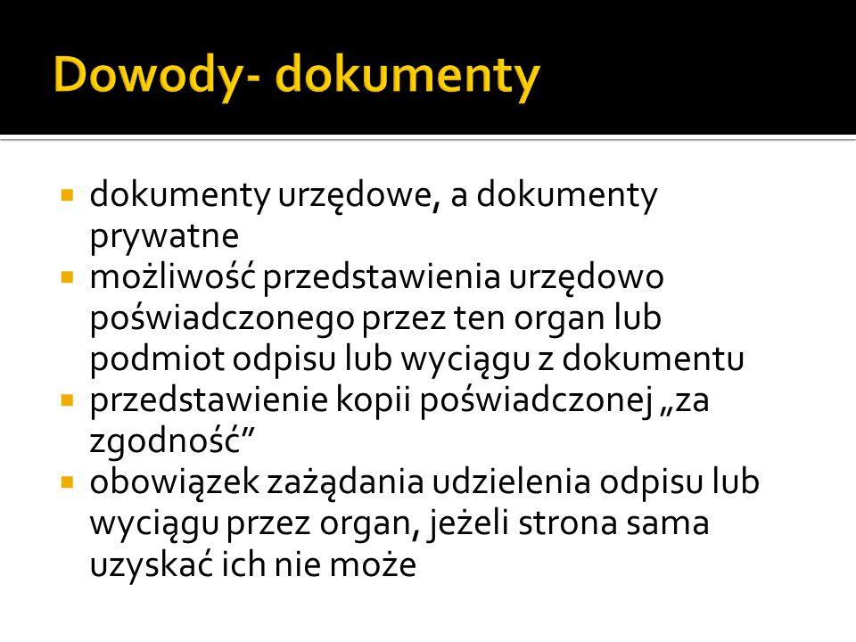 Dowody- dokumenty dokumenty urzędowe, a dokumenty prywatne