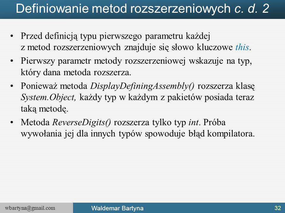 Definiowanie metod rozszerzeniowych c. d. 2