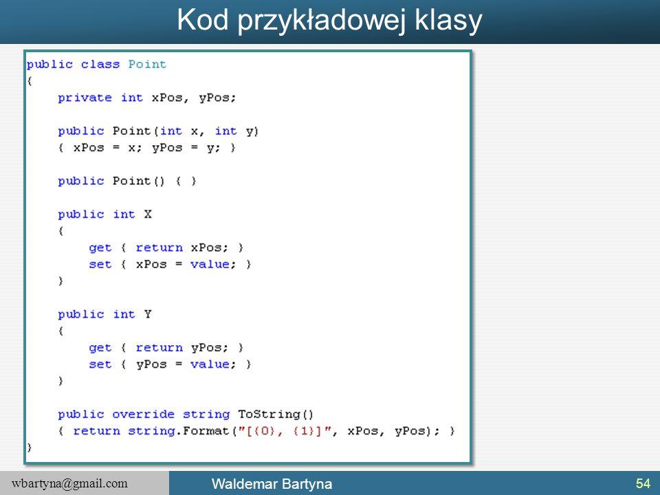 Kod przykładowej klasy