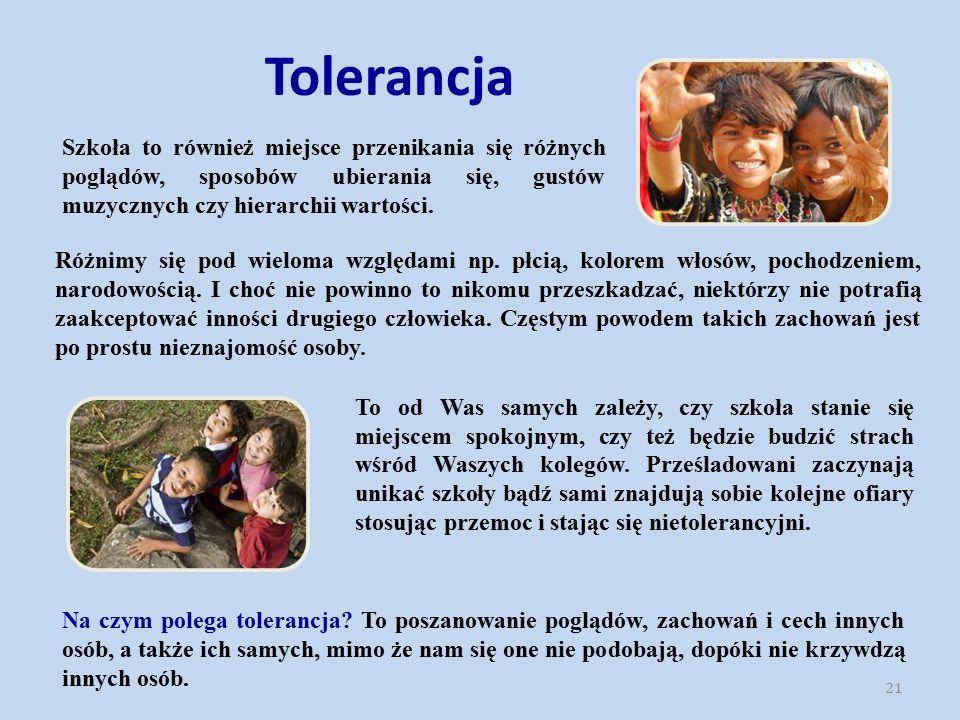 Tolerancja Szkoła to również miejsce przenikania się różnych poglądów, sposobów ubierania się, gustów muzycznych czy hierarchii wartości.