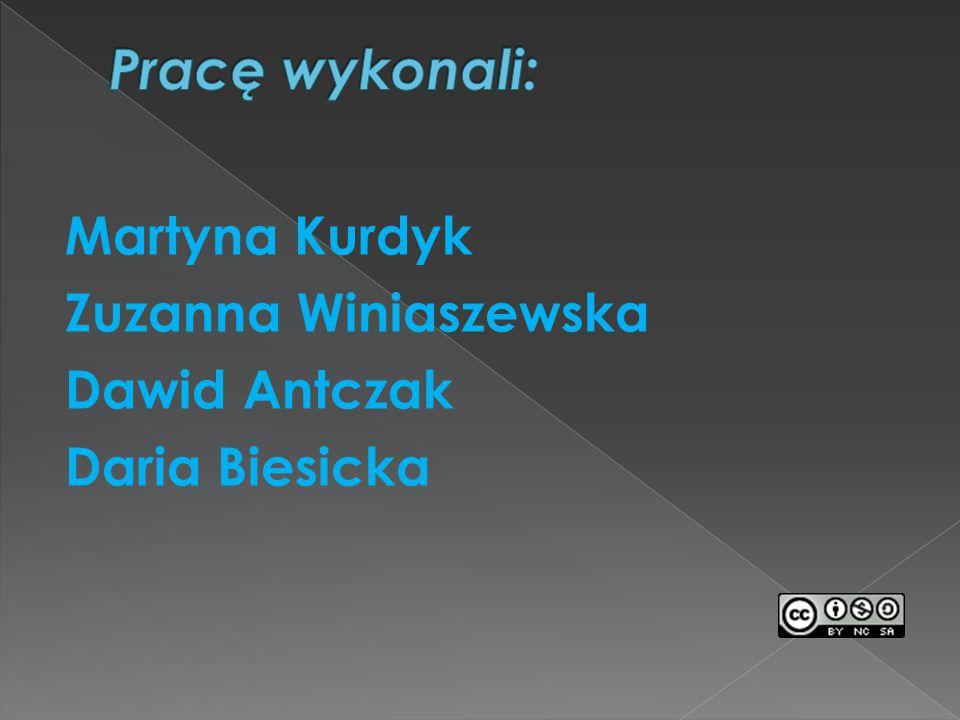 Pracę wykonali: Martyna Kurdyk Zuzanna Winiaszewska Dawid Antczak Daria Biesicka