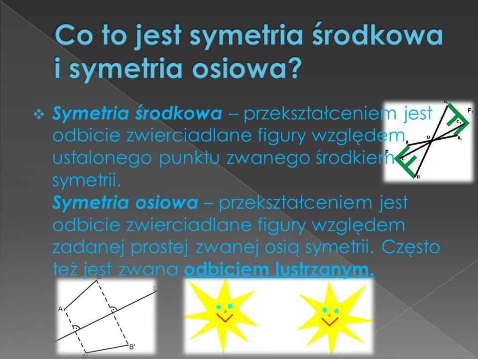 Co to jest symetria środkowa i symetria osiowa