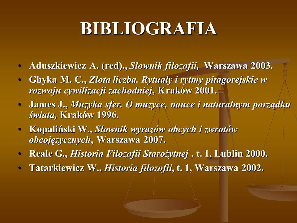 BIBLIOGRAFIA Aduszkiewicz A. (red)., Słownik filozofii, Warszawa 2003.