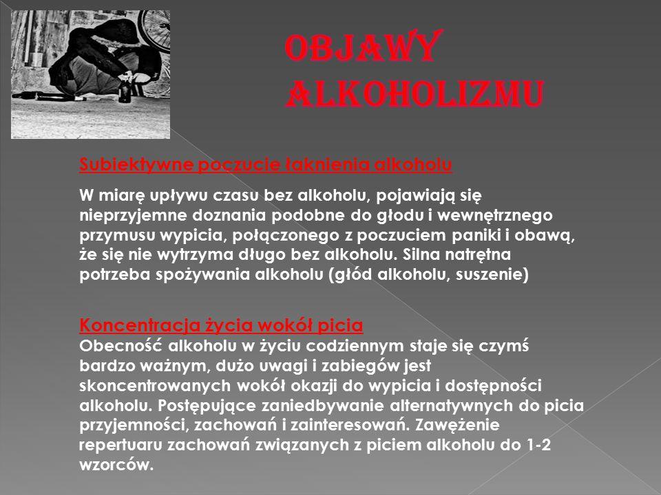 OBJAWY ALKOHOLIZMU Subiektywne poczucie łaknienia alkoholu
