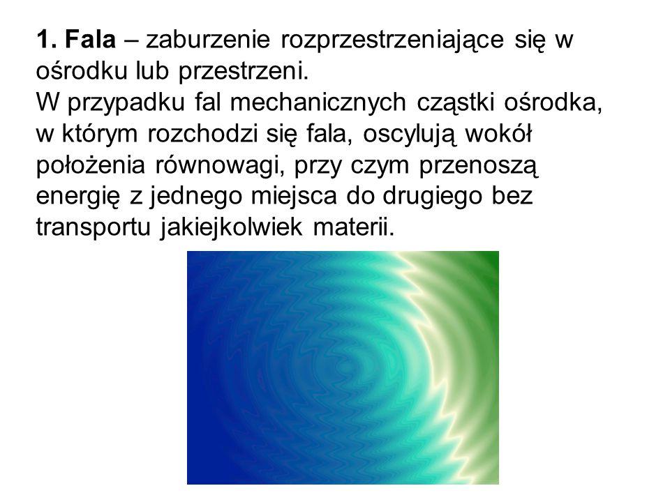 1. Fala – zaburzenie rozprzestrzeniające się w ośrodku lub przestrzeni.