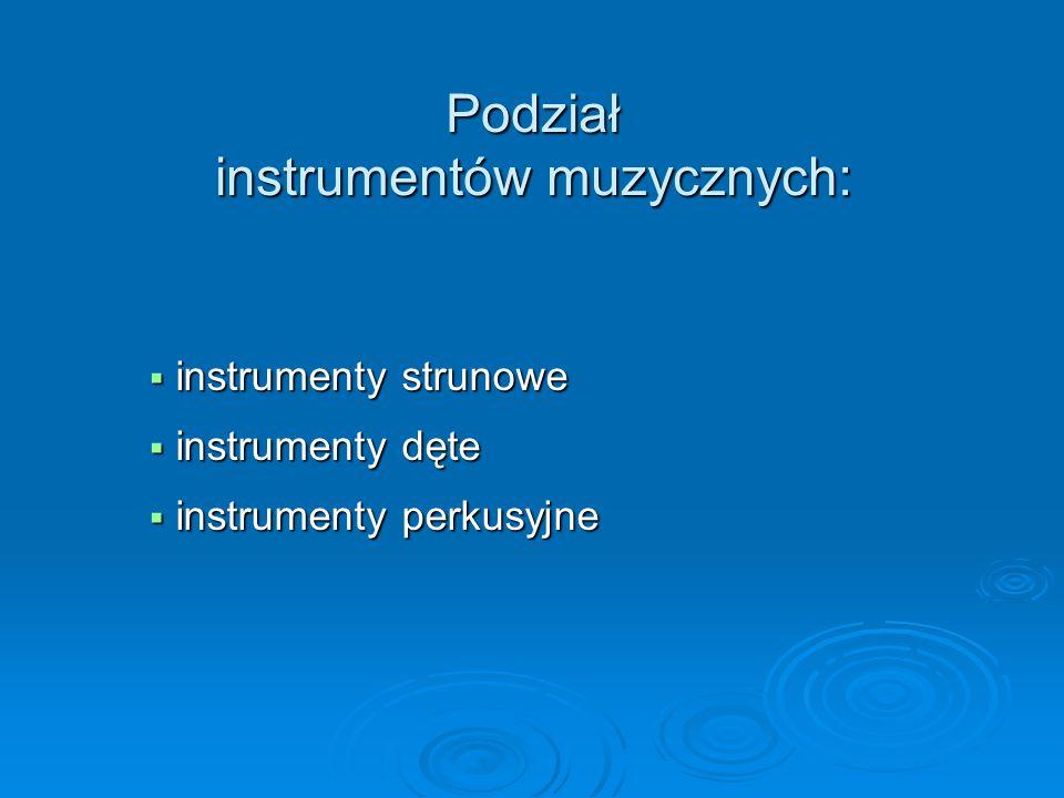 Podział instrumentów muzycznych: