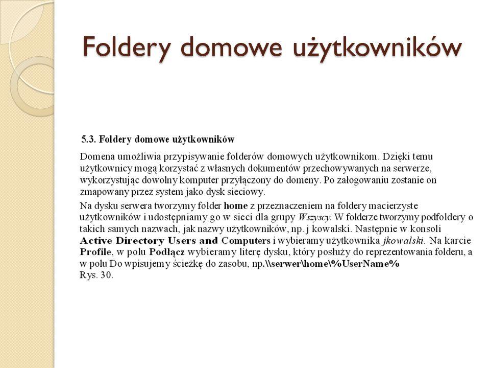 Foldery domowe użytkowników