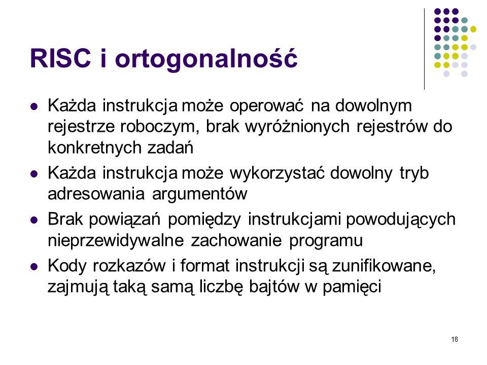 RISC i ortogonalność Każda instrukcja może operować na dowolnym rejestrze roboczym, brak wyróżnionych rejestrów do konkretnych zadań.