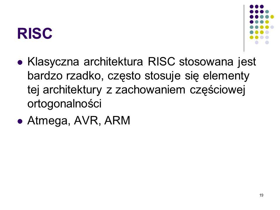 RISC Klasyczna architektura RISC stosowana jest bardzo rzadko, często stosuje się elementy tej architektury z zachowaniem częściowej ortogonalności.