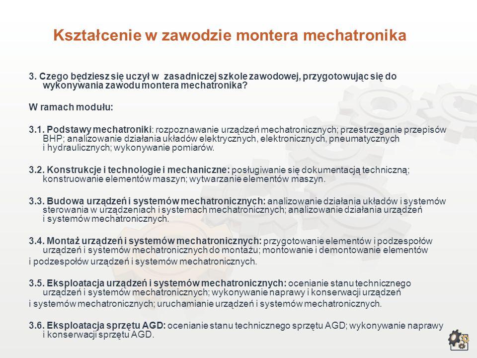 Kształcenie w zawodzie montera mechatronika