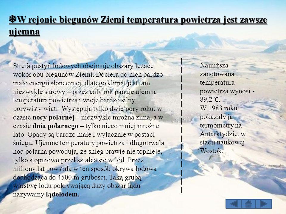 ❅W rejonie biegunów Ziemi temperatura powietrza jest zawsze ujemna
