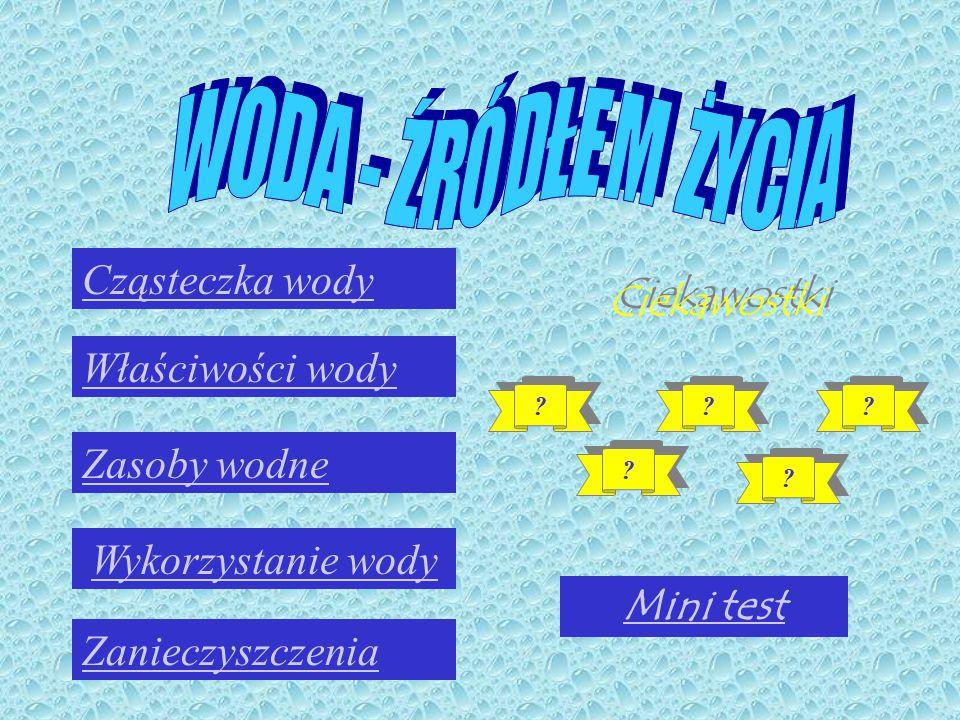 W O D A - Ź R Ó D Ł E M Ż Y C I A Cząsteczka wody Ciekawostki