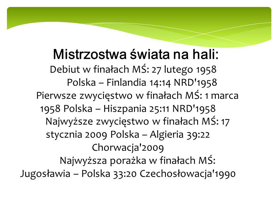 Mistrzostwa świata na hali: Debiut w finałach MŚ: 27 lutego 1958
