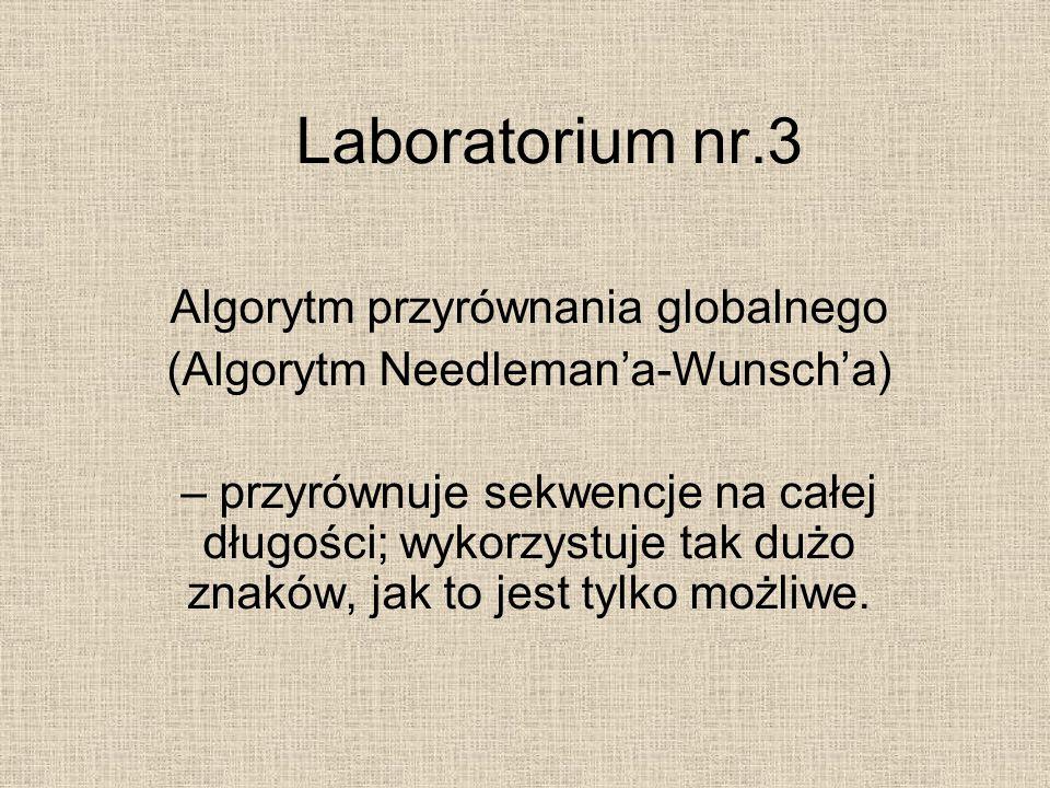 Laboratorium nr.3 Algorytm przyrównania globalnego