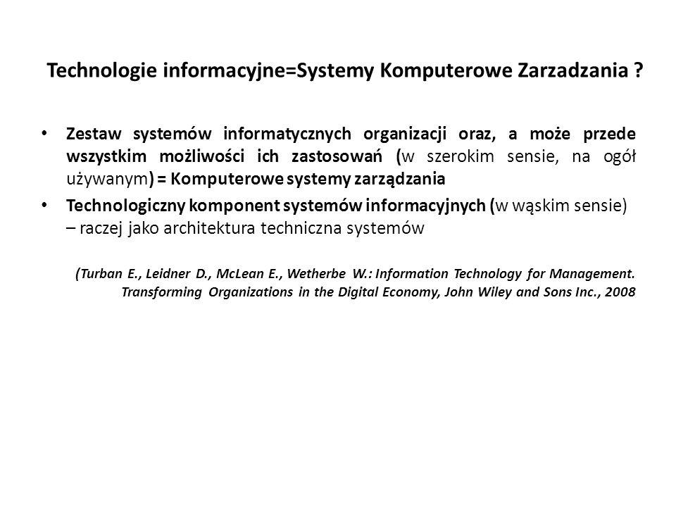 Technologie informacyjne=Systemy Komputerowe Zarzadzania