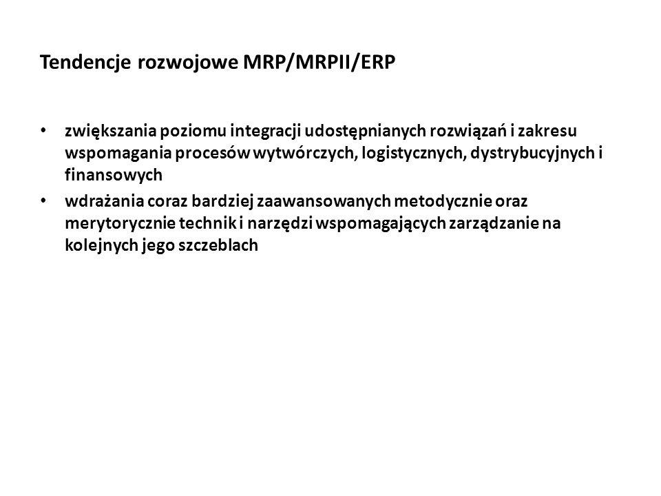 Tendencje rozwojowe MRP/MRPII/ERP