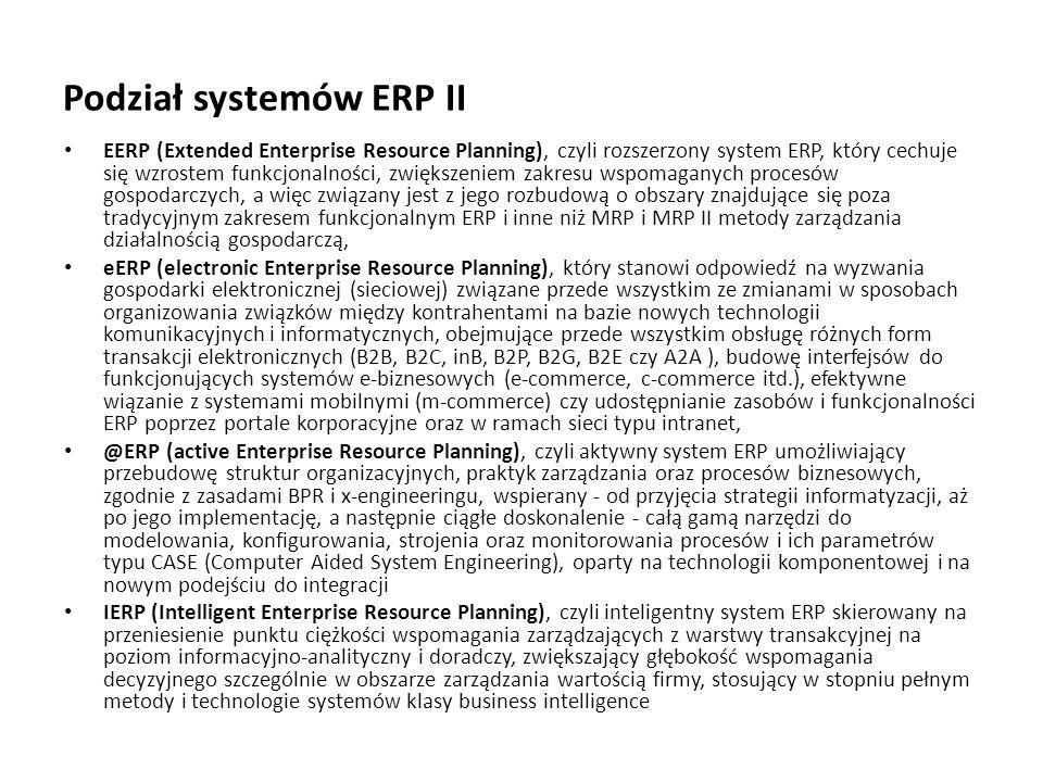 Podział systemów ERP II
