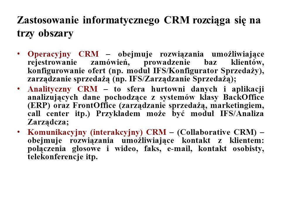 Zastosowanie informatycznego CRM rozciąga się na trzy obszary