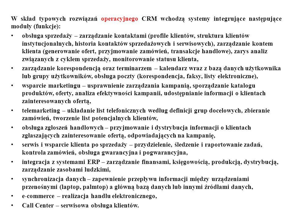 W skład typowych rozwiązań operacyjnego CRM wchodzą systemy integrujące następujące moduły (funkcje):