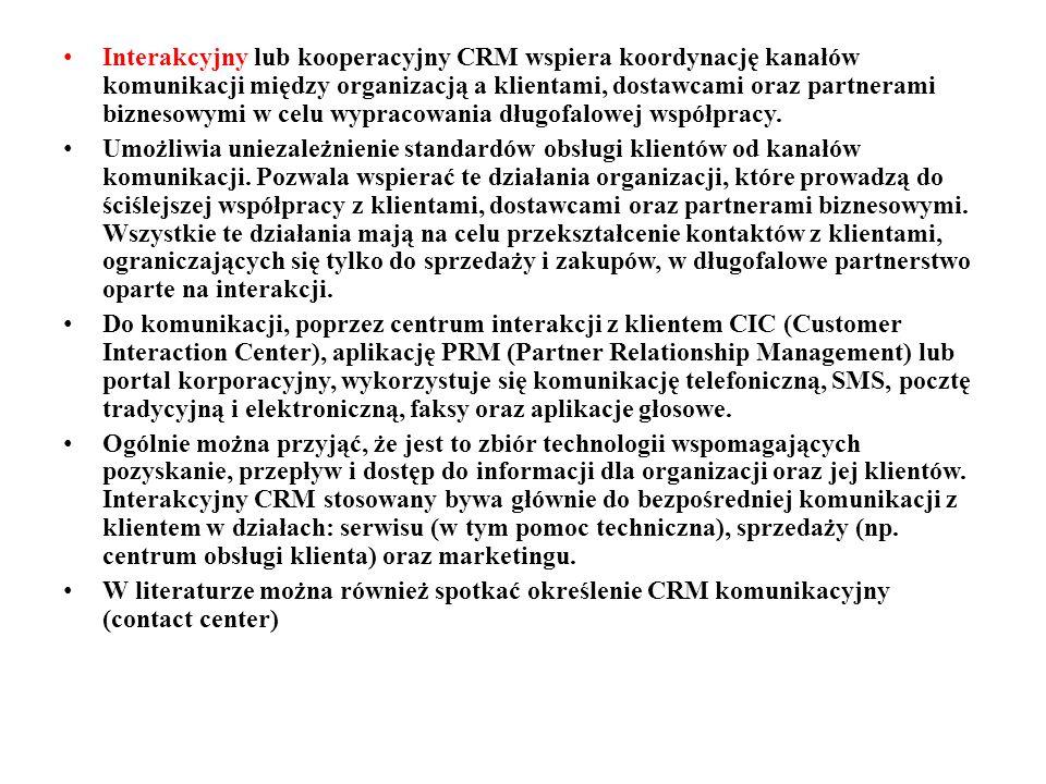 Interakcyjny lub kooperacyjny CRM wspiera koordynację kanałów komunikacji między organizacją a klientami, dostawcami oraz partnerami biznesowymi w celu wypracowania długofalowej współpracy.