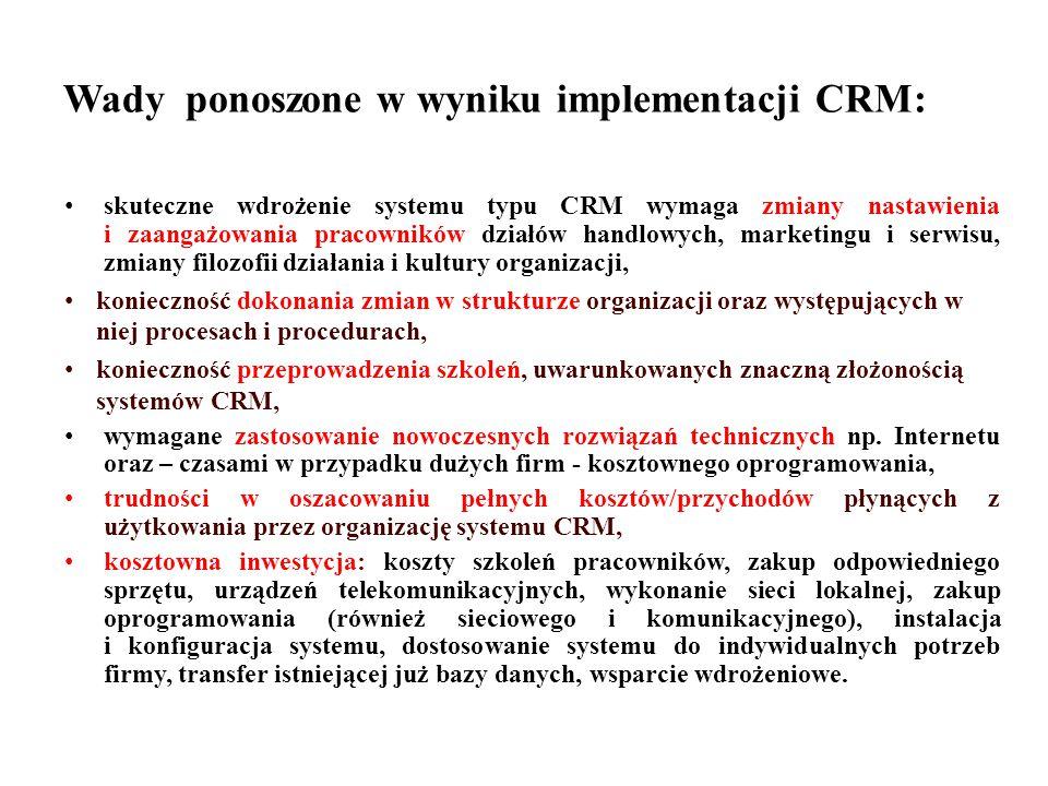 Wady ponoszone w wyniku implementacji CRM: