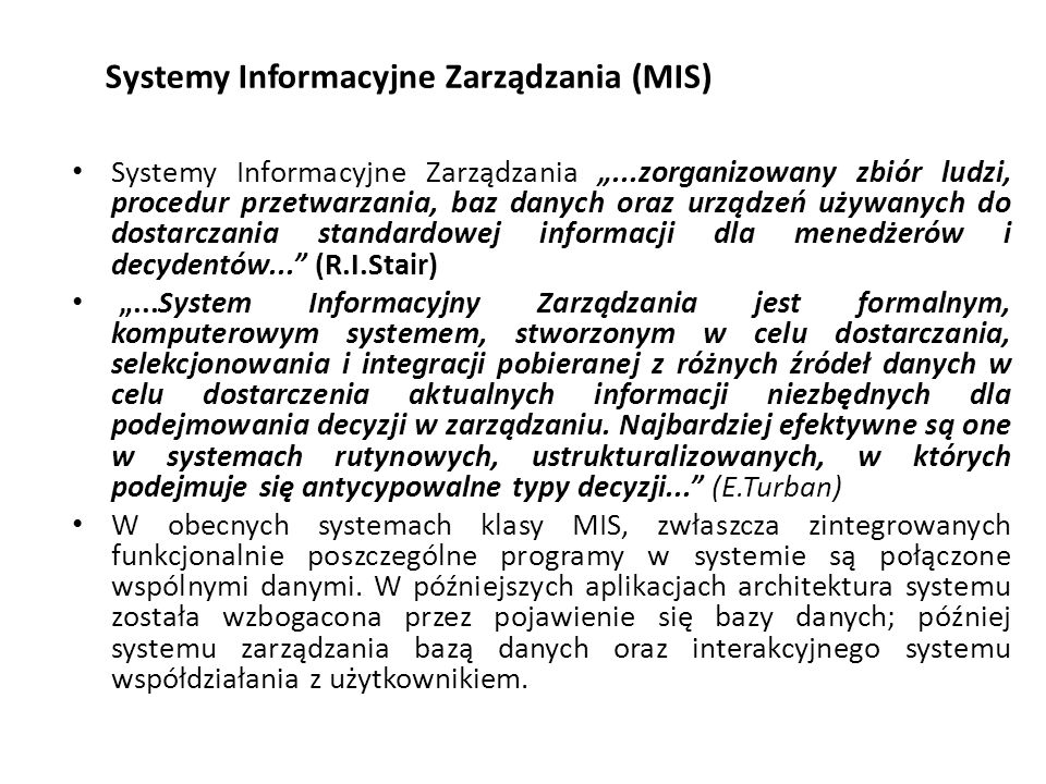 Systemy Informacyjne Zarządzania (MIS)