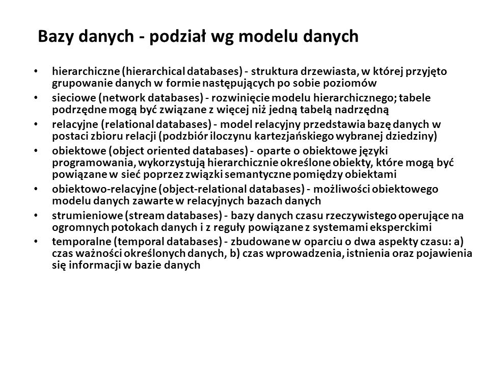 Bazy danych - podział wg modelu danych