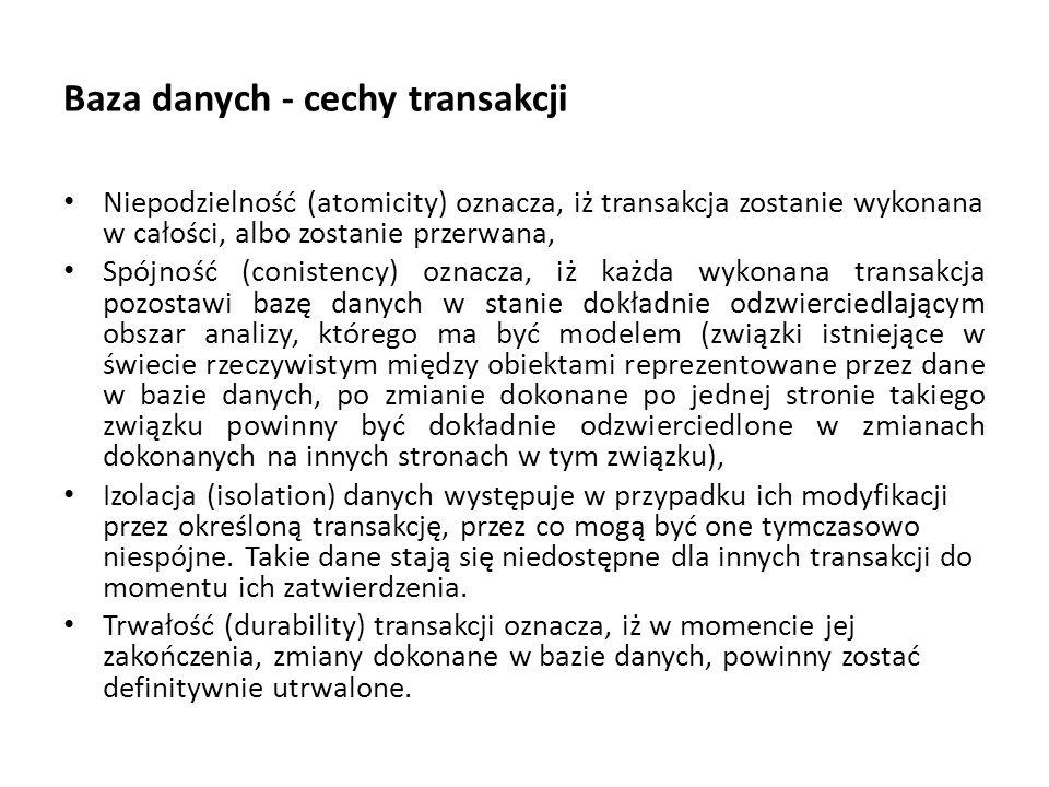 Baza danych - cechy transakcji
