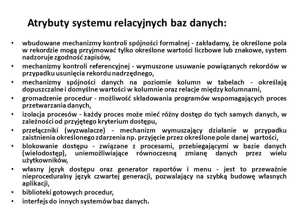 Atrybuty systemu relacyjnych baz danych: