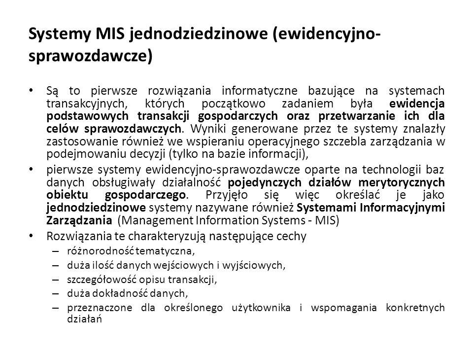 Systemy MIS jednodziedzinowe (ewidencyjno-sprawozdawcze)