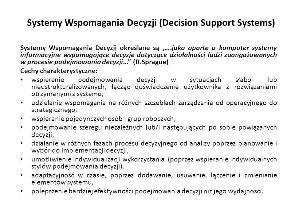 Systemy Wspomagania Decyzji (Decision Support Systems)